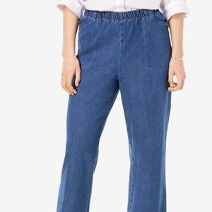 Woman Within Pull On Elastic Waist Jeans Size 20W